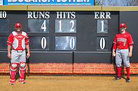 Radford Highlanders starting pitcher Danny Hrbek (7) poses for a photo with his catcher Jonathan Gonzalez (13) after throwing a no-hitter against the Quinnipiac Bobcats at David F. Couch Ballpark on March 4, 2017 in Winston-Salem, North Carolina.  The Highlanders defeated the Bobcats 4-0.  (Brian Westerholt/Four Seam Images)
