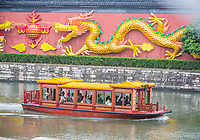 Nanjing, Jiangsu, China.  Tourist Boat on the Qinhuai River, Confucius Temple Area.