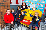 Conor Gleeson Principal and the pupils in Tiernaboul NS on the Buddy Bench that was presented to the school from Barradubh Mens Shed on Tuesday l-r: Lucy Devane, Jorge Ibahnez, Kate Doolan, Laura O'Shea, back row: Fiona Cronin, Caitlin Hickey and Klara Moraczewska