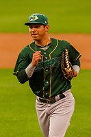 Beloit Snappers outfielder J.C. Rodriguez (6) during a Midwest League game against the Wisconsin Timber Rattlers on August 30, 2017 at Fox Cities Stadium in Appleton, Wisconsin. Wisconsin defeated Beloit 4-0. (Brad Krause/Four Seam Images)