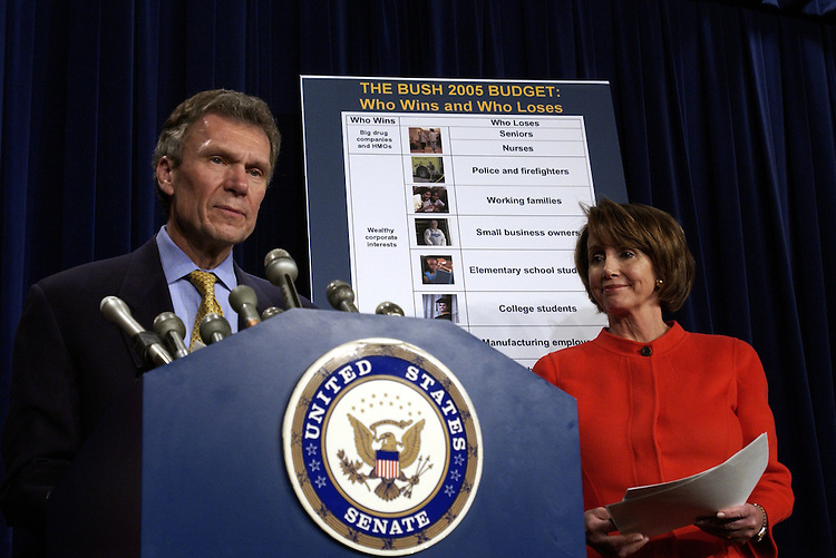 Tom Daschle, D-SD. and Nancy Pelosi, D-CA., during a press conference on President Bush's budget.