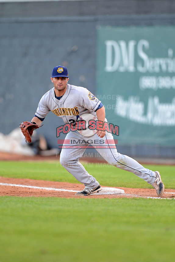 Burlington Bees first baseman Wade Hinkle #24 during a game against the Clinton LumberKings on May 23, 2013 at Ashford University Field in Clinton, Iowa.  Clinton defeated Burlington 6-5.  (Mike Janes/Four Seam Images)