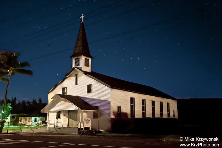 St. Roch Catholic Church at night in Kahuku, O'ahu