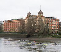 Putney, London,  Tideway Week, Championship Course. River Thames,  OUWBC, cross with OUBC, Isis in front of Harrods Depository<br /> <br /> Wednesday  29/03/2017<br /> [Mandatory Credit; Credit: Peter Spurrier/Intersport Images.com ]