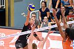 23.08.2018, Sporthalle Berg Fidel, Muenster<br />Volleyball, LŠnderspiel / Laenderspiel, Deutschland vs. Niederlande<br /><br />Angriff Maren Fromm (#4 GER) - Block / Doppelblock Juliet Lohuis (#7 NED), Celeste Plak (#4 NED)<br /><br />  Foto &copy; nordphoto / Kurth