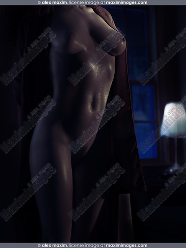 Sexy nude woman body in a dark room in dim dramatic night light with glittering skin