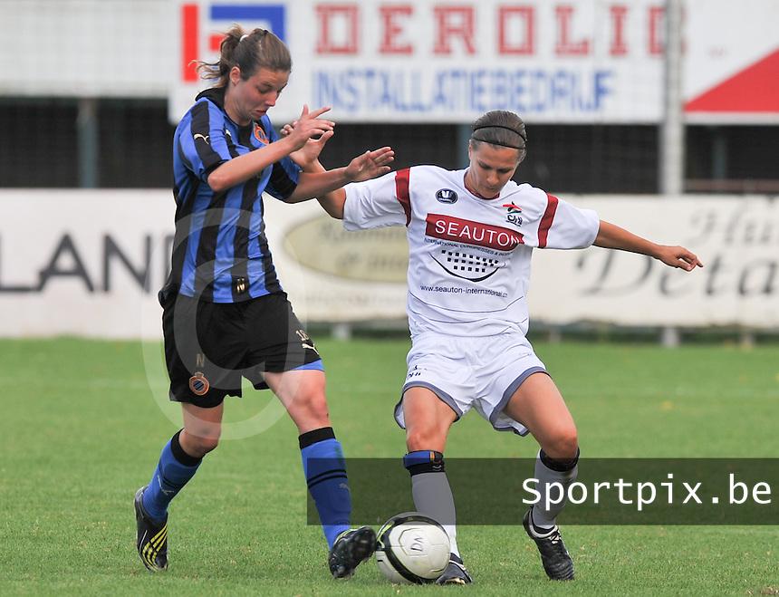 Club Brugge Dames - OHL Oud Heverlee Leuven Dames : duel tussen Nicky Van Den Abbeele en Veerle Van Der Motte .Foto David Catry / Vrouwenteam.be