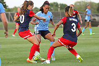 Piscataway, NJ - Saturday July 23, 2016: Estefania Banini, Taylor Lytle, Caprice Dydasco during a regular season National Women's Soccer League (NWSL) match between Sky Blue FC and the Washington Spirit at Yurcak Field.