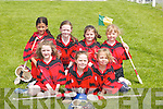 UNDER-8s: In.a happy mood.to play in the.Camogie Blitz.at Lerrig on.Sunday were.the Kenmare.girls. Front l-r:.N i a m h.F i n n e g a n ,.Kaitlin Moriarty.and Jade.Reeves. Back.l-r: Aisling.B h a n v r a ,.Niamh Crowley,.Christina.Moriarty and.L a u r a.Spillane.