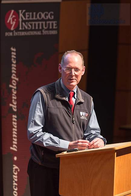 Apr. 19, 2016; Dr. Paul Farmer, cofounder of Partners In Health and chair of the Department of Global Health and Social Medicine at Harvard Medical School, speaks at a public lecture hosted by the Notre Dame Kellogg Institute for International Studies. (Photo by Matt Cashore/University of Notre Dame)