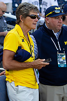 Michigan Wolverines softball coach Carol Hutchins before  Game 1 of the NCAA College World Series Finals on June 24, 2019 at TD Ameritrade Park in Omaha, Nebraska. Michigan defeated Vanderbilt 7-4. (Andrew Woolley/Four Seam Images)