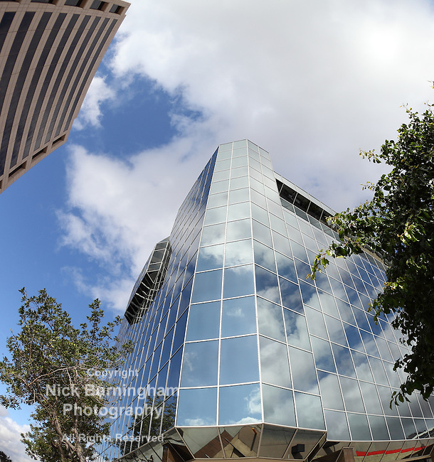 Office buildings in Glendale - Southern California, shot with a fisheye lens.