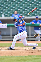 Tennessee Smokies catcher Erick Castillo (16) swings at a pitch during a game against the Mississippi Braves at Smokies Stadium on May 20, 2018 in Kodak, Tennessee. The Braves defeated the Smokies 7-4. (Tony Farlow/Four Seam Images)