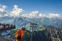 Germany, Bavaria, Upper Allgaeu, Oberstdorf: with Nebelhorn cable car in three sections up to summit Nebelhorn 2224 m, viewing platform at upper station Nebelhorn | Deutschland, Bayern, Oberallgaeu, Oberstdorf: mit der Nebelhornbahn geht es in drei Etappen hinauf zum Nebelhorn 2224 m, Aussichtsterrasse an der Gipfelstation