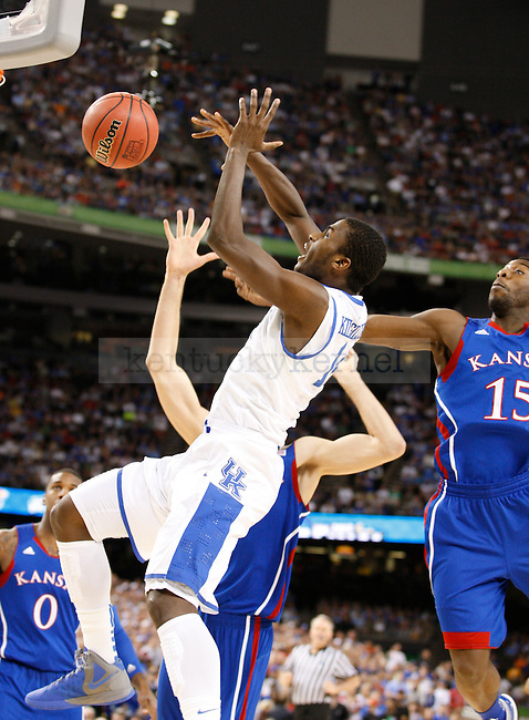 in the first half of the championship game of the NCAA Tournament between the University of Kentucky and Kansas University, in the Superdome, on Monday, April 2, 2012 in New Orleans, La. Photo by Latara Appleby | Staff