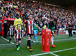 Billy Sharp of Sheffield Utd leads the team out during the English Championship League match at Bramall Lane Stadium, Sheffield. Picture date: August 5th 2017. Pic credit should read: Simon Bellis/Sportimage