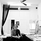 Artist James Griffith in his studio in Altadena, California.