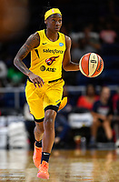 Washington, DC - Aug 8, 2019: Indiana Fever guard Erica Wheeler (17) brings the ball up court during 1st half action of game between the Indiana Fever and the Washington Mystics at the Entertainment & Sports Arena in Washington, DC. (Photo by Phil Peters/Media Images International)