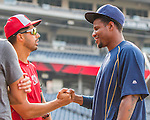 22 July 2016: San Diego Padres pitcher Edwin Jackson (right) chats with Washington Nationals pitcher Gio Gonzalez prior to a game at Nationals Park in Washington, DC. The Padres defeated the Nationals 5-3 to take the first game of their 3-game, weekend series. Mandatory Credit: Ed Wolfstein Photo *** RAW (NEF) Image File Available ***
