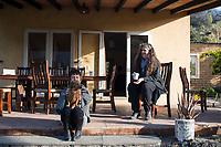 Annuska and Lola in the morning light. Cuatepetitla house with Obie, San Jose de los Laureles, Morelos, Mexico