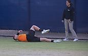 June 13th 2017, Nottingham, England; ATP Aegon Nottingham Open Tennis Tournament day 4;  Bryden Klein of Great Britain takes a tumble in his first round match against Alex De Minaur of Australia