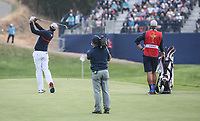 Tony Finau (Team USA) plays to the 7th during Friday's Fourballs, at the Ryder Cup, Le Golf National, Îls-de-France, France. 28/09/2018.<br /> Picture David Lloyd / Golffile.ie<br /> <br /> All photo usage must carry mandatory copyright credit (© Golffile | David Lloyd)