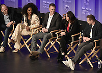 "HOLLYWOOD, CA - MARCH 17:   Angela Bassett, Peter Krause, Jennifer Love Hewitt and Oliver Stack at PaleyFest 2019 - Fox's ""9-1-1"" panel at the Dolby Theatre on March 17, 2019 in Hollywood, California. (Photo by Scott Kirkland/Fox/PictureGroup)"