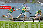 James Godley Kerry clears his lines under pressure from Andrew Gaule Carlow  during their Allianz Hurling league clash in Fitzgerald Stadium on Sunday
