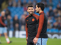 Sergio Aguero of Manchester City looks happy during warm ups before the UEFA Champions League GROUP match between Manchester City and Celtic at the Etihad Stadium, Manchester, England on 6 December 2016. Photo by Andy Rowland.
