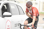 Tom Dumoulin (NED) Team Sunweb back with his team car after being caught up in a crash during Stage 6 of the 2019 UAE Tour, running 175km form Ajman to Jebel Jais, Dubai, United Arab Emirates. 1st March 2019.<br /> Picture: LaPresse/Fabio Ferrari | Cyclefile<br /> <br /> <br /> All photos usage must carry mandatory copyright credit (© Cyclefile | LaPresse/Fabio Ferrari)