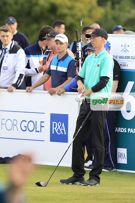 Jimmy Mullen (ENG) during the afternoon singles for the Walker cup Royal Lytham St Annes, Lytham St Annes, Lancashire, England. 13/09/2015<br /> Picture Golffile | Fran Caffrey<br /> <br /> <br /> All photo usage must carry mandatory copyright credit (&copy; Golffile | Fran Caffrey)