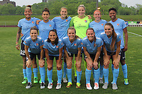 Piscataway, NJ, May 13, 2016. The Sky Blue FC starting eleven. Sky Blue FC defeated the Boston Breakers, 1-0, in a National Women's Soccer League (NWSL) match at Yurcak Field.