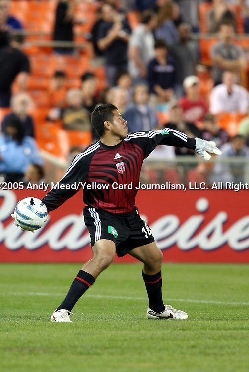 21 May 2005: Nick Rimando throws the ball up the field. DC United defeated the Kansas City Wizards 3-2 at RFK Stadium in Washington, DC in a regular season Major League Soccer game. . .