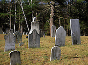 Headstones at Warren Village Cemetery in Warren, New Hampshire USA.