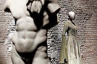 Pier'Alli<br /> Roma 03-04-2016 Terme di Diocleziano. Mostra 'In Acqua: H2O molecole di creativita'. Decine di stilisti hanno creato, per l'occasione, abiti, accessori e gioielli che richiamano l'acqua.<br /> Diocleziano Thermae. Exhibition 'In water: H2O molecules of creativity'.Tens of famous stylists created dresses, accessories and jewels that recall water.<br /> Photo Samantha Zucchi Insidefoto