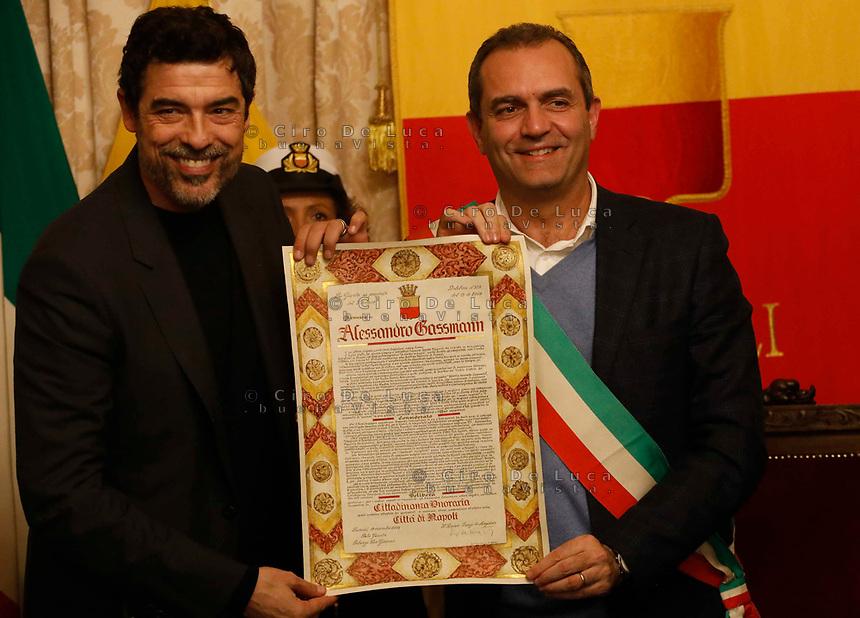 il Sindaco Di Napoli Luigi de Magistris The actor Alessandro Gassman receives the honorary citizenship of Naples <br /> Alessandro Gasmann cittadino onorario di Napoli