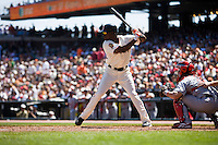 12 April 2008: #14 Fred Lewis of the Giants is seen at bat during the St. Louis Cardinals 8-7 victory over the San Francisco Giants at the AT&T Park in San Francisco, CA.