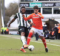 Alan Sheehan of Luton Town shields the ball during the Sky Bet League 2 match between Plymouth Argyle and Luton Town at Home Park, Plymouth, England on 19 March 2016. Photo by Liam Smith.