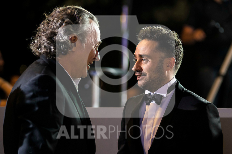 "Jose Coronado and the director of the film J.A. Bayona during the premiere of the spanish film ""Un Monstruo Viene a Verme"" of J.A. Bayona at Teatro Real in Madrid. September 26, 2016. (ALTERPHOTOS/Borja B.Hojas)"