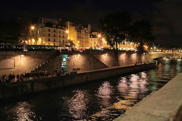 Seine River at night, Paris, France.