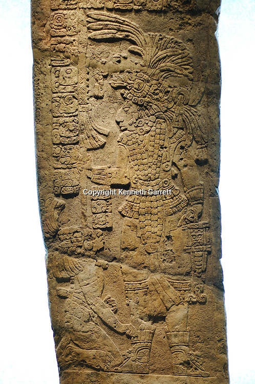Maya Rise and Fall; Mexico City; National Museum of Anthropology and History; INAH; Yaxchilan; Stela 15; Warrior; Captive Mayan; Maya; Ancient Cultures, artifact