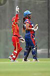 Nairry Thapa (r) of Nepal in action with Zou Miao of China during their ICC 2016 Women's World Cup Asia Qualifier match between China and Nepal  on 11 October 2016 at the Kowloon Cricket Club in Hong Kong, China. Photo by Marcio Machado / Power Sport Images