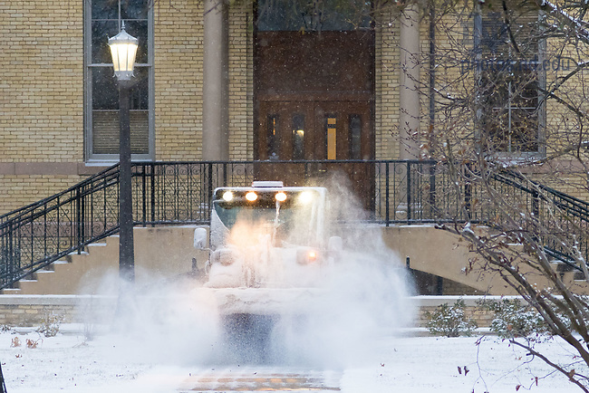 December 7, 2017; Snow plow on main quad (Photo by Matt Cashore/University of Notre Dame)