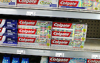Boxes of Colgate toothpaste are display in a market while Colgate Management discusses Q4 2011 results in New York, United States. 26/01/2012. Photo by Kena Betancur / VIEWpress.