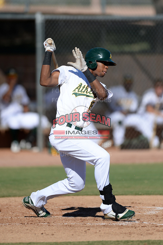 Oakland Athletics outfielder Shawn Duinkerk (15) during an Instructional League game against the Chicago Cubs on October 16, 2013 at Papago Park Baseball Complex in Phoenix, Arizona.  (Mike Janes/Four Seam Images)