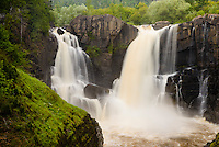 High Falls of the Pigeon River at Grand Portage State Park in summer.