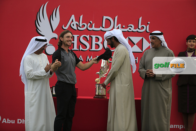 Tommy Fleetwood (ENG) winner of the Abu Dhabi HSBC Championship, Abu Dhabi Golf Club, Abu Dhabi,  United Arab Emirates. 22/01/2017<br /> Picture: Golffile | Fran Caffrey<br /> <br /> <br /> All photo usage must carry mandatory copyright credit (&copy; Golffile | Fran Caffrey)