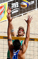Italy's Paolo Nicolai, back to camera, and Austria's Robin Seidl in action during the match between Italy and Austria at Beach Volleyball World Tour Grand Slam, Foro Italico, Rome, 21 June 2013.<br /> UPDATE IMAGES PRESS/Isabella Bonotto