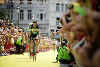 the immensely popular (dating from his days as CX-champion) Zdenek Stybar (CZE/Etixx-QuickStep) receives a warm welcome by the belgian fans<br /> <br /> stage 3: Antwerpen (BEL) - Huy (BEL)<br /> 2015 Tour de France