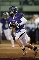 NWA Democrat-Gazette/CHARLIE KAIJO Fayetteville High School wide receiver Luke Charboneau (14) runs the ball during a playoff football game on Friday, November 10, 2017 at Fayetteville High School in Fayetteville.